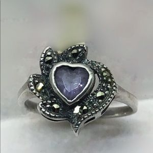 Size 6 Vintage Amethyst And Silver Ring